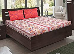 Bombay Dyeing double bedsheet with 2 pillow covers-Foliage-Orange