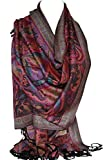 Beautiful Paisley Ethnic Print Pashmina Feel Wrap Shawl Scarf Scarves Hijab in Rich Colours (Black)