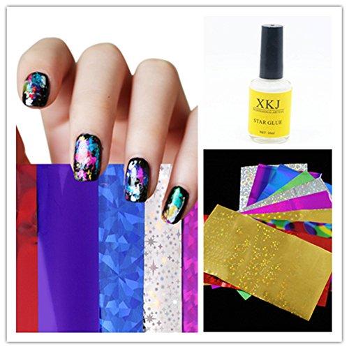 Caldo ragazza 12PC nail art transfer foil 1PC Star Glue nail art sticker DIY nail art Decorations set