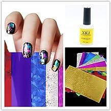 Cálido niña Kit de uñas arte transferencia Foil 1pieza Star pegamento adhesivo decorativo para uñas DIY