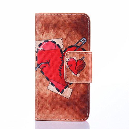 Qimmortal - Custodia a portafoglio in finta pelle, con pellicola proteggi schermo in vetro temperato, modello colorato, con funzione supporto, pieghevole magnetico, con porta carte di credito, per Sam Broken hearts