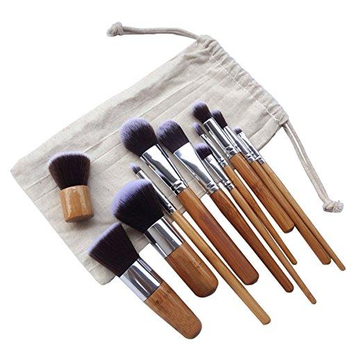 AIUIN Un ensemble de 11 pinceaux de maquillage Poteau de bambou Avec des sacs Professionnel Eyebrow Shadow Makeup Blush Kit Pinceau Ensemble brosse à maquillage Outils de beauté