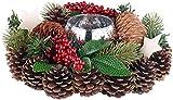 Britesta Weihnachtsgesteck: Handgefertigtes Weihnachts- & Adventsgesteck mit Teelicht-Halter, 23cm (Gesteck)