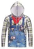 Pizoff Unisex Hip Hop Cosplay Sweatshirt Maskerade Kapuzenpullover mit Bunt 3D Jeans Jump Cowboy Digital Print