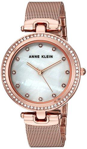 Anne Klein Women's AK/2972MPRG Swarovski Crystal Accented Rose Gold-Tone Mesh Bracelet Watch