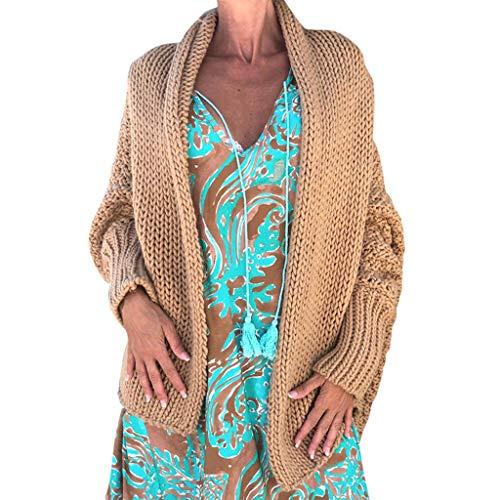 Amcool Damen Strickjacke Herbst Winter Cardigan Top,Women Lange ÄRmel Solid Color Casual Asymmetrisch Warm Mantel Pullover Coat Offene Tops