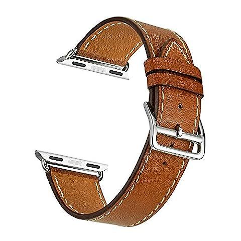 ontube, bande en cuir pour Apple Montre bracelet simple tour de montre en cuir véritable avec adaptateur pour Apple iwatch série 2série 1(simple tour marron)