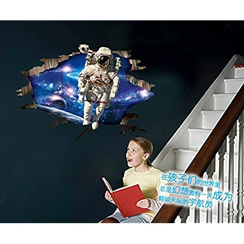 Personalidad creativa Stereoscopic 3D Space astronauta carteles en la pared de pared deko etiqueta ''60*90cm estanco