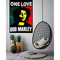 "ANJANIYA Bob Marley Beautiful Bohemian Room Dorm Decor Hippie Small Boho Rasta Tapestry Poster Size 40""x30"" Psychedelic Reggae Tapestries Wall Art Hanging Cotton Gypsy Posters (Bob Marley One Love)"