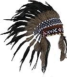 N63 - schwarz und natürlichen Farben kurz Indianer Kopfschmuck / Warbonnet. Native American Style.