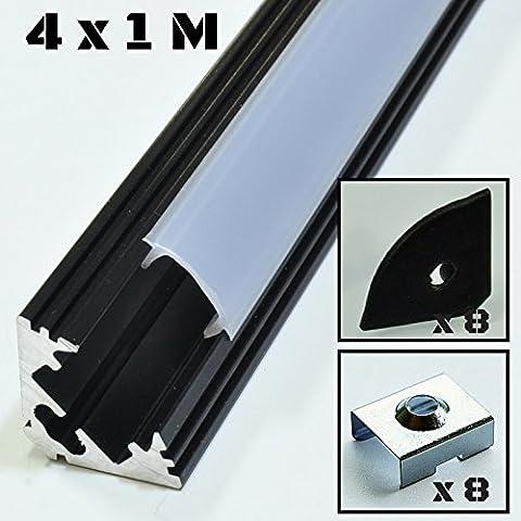 4er SET Alu Profil P3 1m Aluminium: schwarz Abdeckung: opal Inkl. Endkappen und Montageklammern für