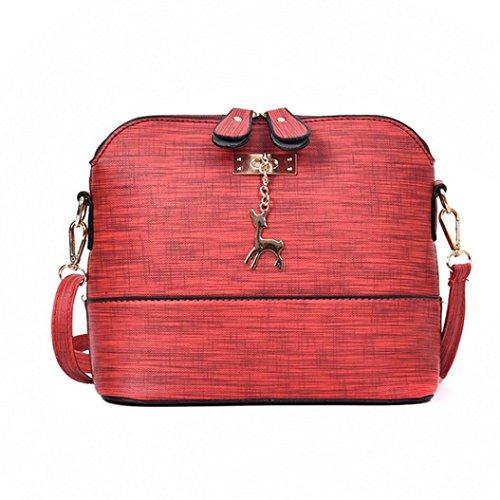 TUDUZ Schultertasche Damen Messenger Bags Vintage Kleine Shell Leder Handtasche Casual Paket (Rot)