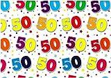 Geburtstag Geschenkpapier–2Bögen Geschenkpapier und zwei Tags–50. Geburtstag–se2611