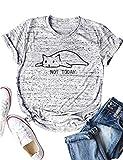 YUHX Damen NOT Today T-Shirt Hemd Tops Brief Katze Shirt Grafik drücken Kurzarm Rundhals Tierdruck Spruch Oberteile