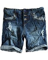 Damen Jeans Bermuda Short by STS Boyfriend Look tiefer Schritt Jeansbermuda mit Kontrastnähten washed
