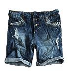 STS Damen Jeans Bermuda Short by Boyfriend Look tiefer Schritt Jeansbermuda mit Kontrastnähten Washed (M, Dark Blue)