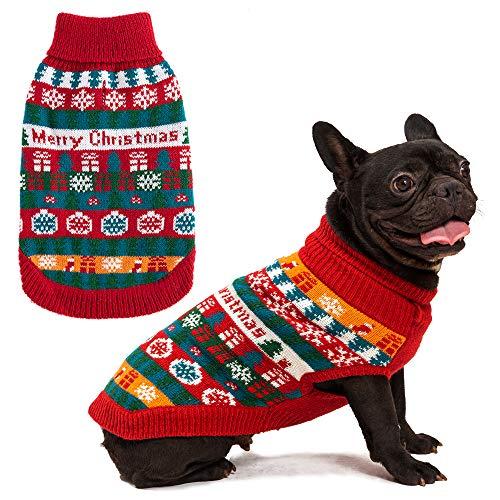EXPAWLORER Hundepullover - Warmer Pullover mit bunten Streifen und Schneeflocken für Weihnachten