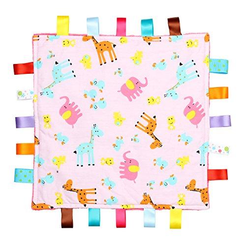 Rosa mit Giraffen, Elefanten und Küken Tag, taggy Decke - In rosa strukturierten Unterseite (König Tröster Fleece)