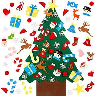 50 Piezas Juego de Árbol de Navidad de Fieltro DIY, Árbol de Navidad de Fieltro DIY de 3.2 Pies con 49 Piezas Surtido de Adornos Desmontables de Navidad para Navidad Año Nuevo Decoraciones Colgantes