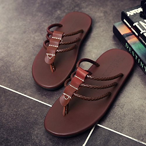 BEEST-Sommer Sandalen aus Leder, Leder Sandalen, fischgrat Flip Flops, für Männer drei Bars Muster Brown