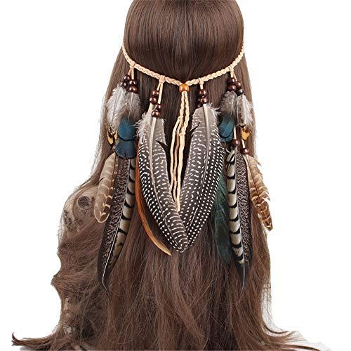Keliour-hea Hut-Blumen-Maschen-Bänder Federstirnband Indian Headpiece Bohomia Federseil Krone Kopfschmuck Kopfbedeckung für Mädchen und Frauen - Mädchen Indian Für Hut