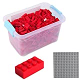 Katara 1827 - Bausteine 520 Stück, Kompatibel mit Lego, Sluban, Papimax, Q-Bricks, Bauklötze Inklusive Grundplatte, Rot