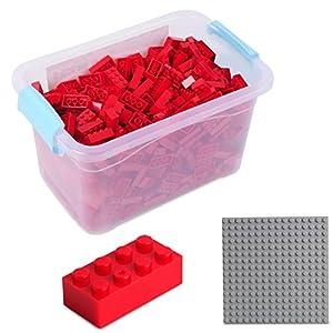 Katara Juego De 520 Ladrillos Creativos En Caja Con Placa De Construcción 100% Compatibles Con Lego Classic, Sluban, Papimax, Q-bricks, Color Rojo (1827)