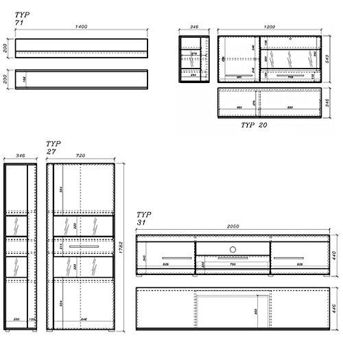 Wohnwand Anbauwand 440901 weiß / weiß Hochglanz 4-teilig - 2