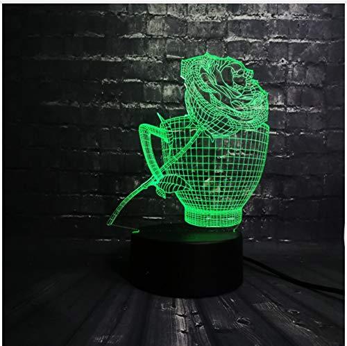 se Blume Kaffeetasse Shop Dekoration Usb Lampe Schlaf Licht 7 Farbwechsel Weihnachtsgeschenk Usb Basis Batterie Touch Schalter ()