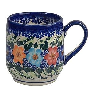 Traditional Polish Pottery, Handcrafted Ceramic Tulip-shaped Mug (300ml / 10.5 fl oz), Boleslawiec Style Pattern, Q.901.GARLAND