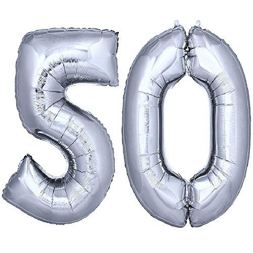 DekoRex® Folienballon Zahlenballon Heliumballon Luftballon Geburtstag Deko 100cm Zahl Silber 50