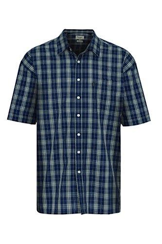 Herren Champion Brighton Karriertes Hemd Sommer kurze Ärmel Blau