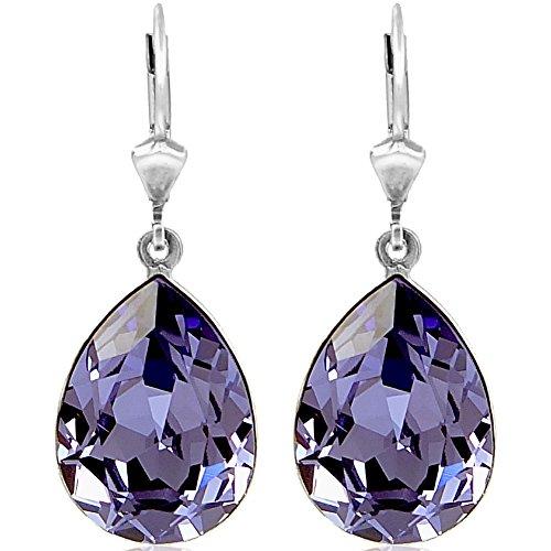 Ohrringe mit Kristallen von Swarovski® Lila Silber Tropfen NOBEL SCHMUCK