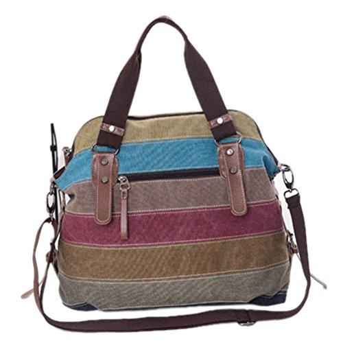 Longra Mode Damen Schultertasche Satchel Crossbody Tasche Handtasche Handtasche Messenger Canvas umhängetasche (Multicolor) (Satchel Schädel-große)