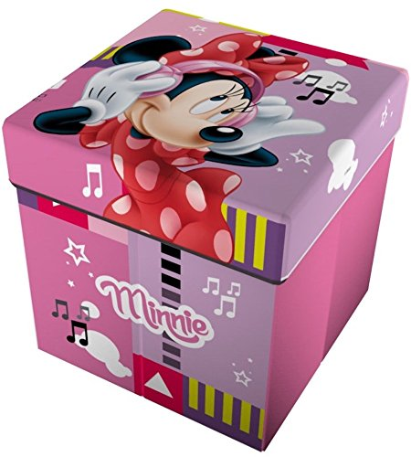Star Licensing Disney Minnie Pouf récipient avec Coussin, Polyester, Multicolore, 32 x 32 x 32 cm