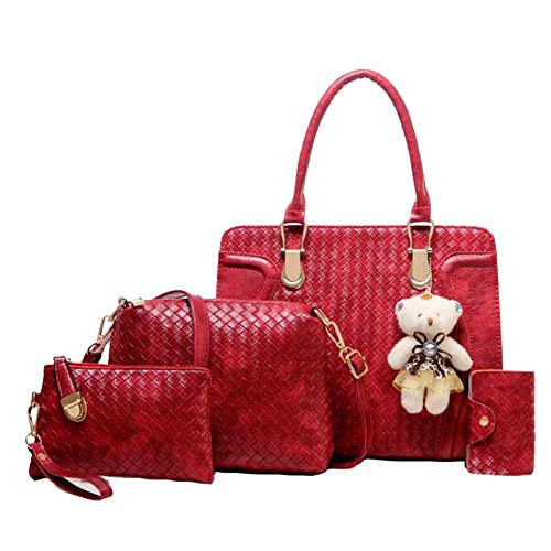 Elegante Da Donna Pu In Pelle Cerniera Design Handbag Shoulder Bag Tote Bag 4 Pezzi Beige Rosso