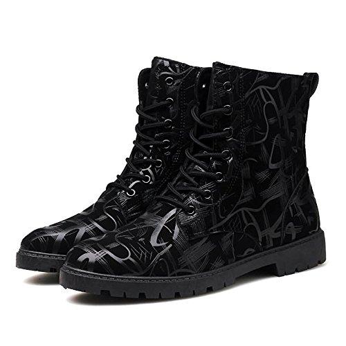 Casual Suede Shoe Herren Stiefeletten Chunky Heel Lace up britischen Stil Mode Freizeit Schuhe Herren Sneaker (Color : Schwarz, Größe : 39 EU) -