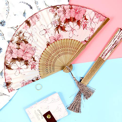 XIAOHAIZI Handklappventilator,Vintage Chinese Classical Summer Folding Fan Pink Flowers Hollow Ladies Gift Dance Fan - Lady Pink Flower