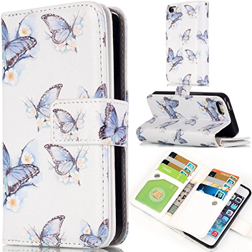 iPhone 6 Coque, iPhone 6S Coque, Lifeturt [ Pivoine ] Leather Case Wallet Flip Protective Cover Protector, Etui de Protection PU Cuir Portefeuille Coque Housse Case Cover Coquille Couverture avec Fonc E02-Papillon bleu