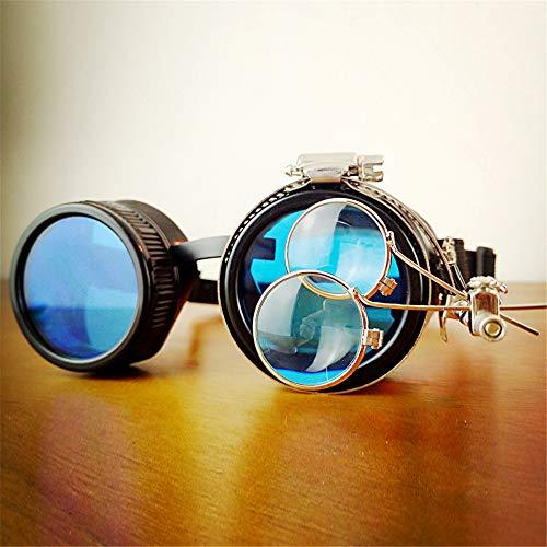 Yiph-Sunglass Sonnenbrillen Mode Vintage Steampunk-Brille mit gestreckten Brillen UV-Glühen in den blauen Rave-Gläsern (Größe : Double Mirror)