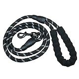 5 FT starke Hundeleine, langlebige dicke Nylon-Seil-Leinen mit bequemen gepolsterten Griff und stark reflektierende Themen für mittlere große Hunde
