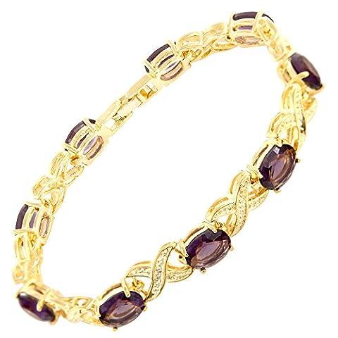 Riva Vergoldet 18K Gelbgold Vergoldets Oval-Schnitt Lila Amethyst Stilvoll Geschenk Armband