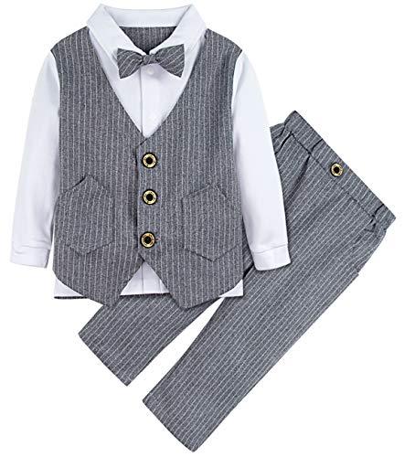 A&J DESIGN Baby Junge Passen Setzt Lange Ärmel Overalls (Grau, 2-3 Jahre) (Jungen Anzüge Setzt)