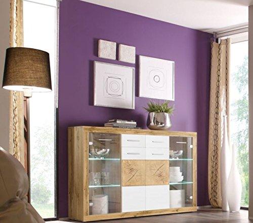 Stella Trading Woods Highboard, Holzdekor, Wildeiche-Weiß, 150 x 104 x 40 cm