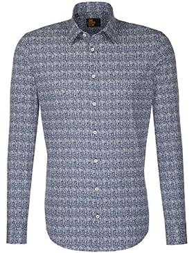 Seidensticker Herren Langarm Hemd UNO Super Slim Stretch Kent blau strukturiert 674830.15