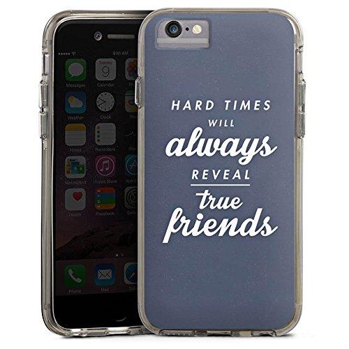 Apple iPhone 6s Bumper Hülle Bumper Case Glitzer Hülle Freunde Friends Wahre Freunde Bumper Case transparent grau