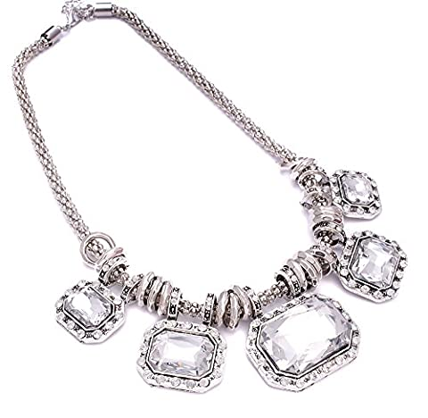 Ladies Fashion & Gorgeous Sparkly Crystal Silver Bib Statement Necklace Chain Jewellery For Women
