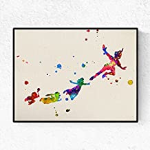 """Lámina para enmarcar """"Peter pan volando con amigos"""". Nacnic. Laminas decorativas para pared. Laminas estilo acuarela. Regalo creativo para los niños. Papel 250 gramos alta calidad"""