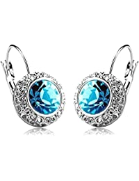 Shining Diva Blue Platinum Plated Crystal Clip-On Earrings For Women/Girls