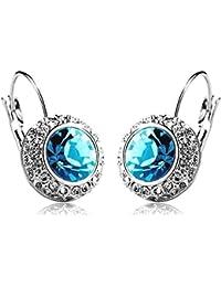 Shining Diva Blue Platinum Plated Crystal Clip-On Earrings For Women/Girls